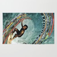 surfing Area & Throw Rugs featuring Surfing by Ben Giles