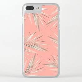 White Gold Palm Leaves on Coral Pink Clear iPhone Case