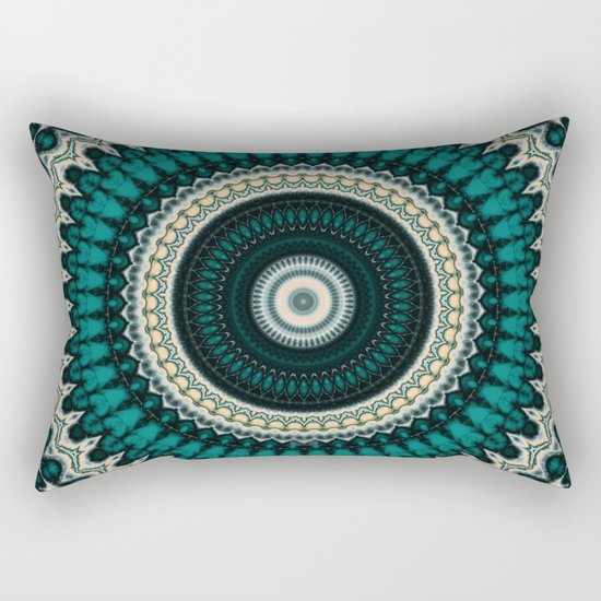 Mandala Fractal in Teal Study 01 Rectangular Pillow
