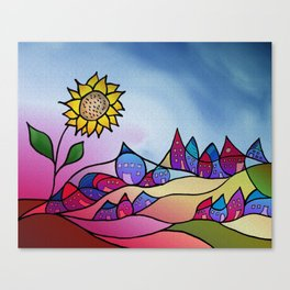 my little village and its sun -3- Canvas Print