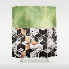 Birch Tree Cubes Shower Curtain