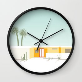 Palm Springs Midcentury Yellow House with Red Door Wall Clock