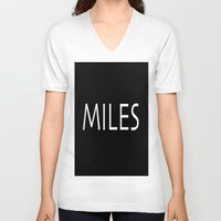 miles davis V-neck T-shirts featuring miles by Luigi Colarullo