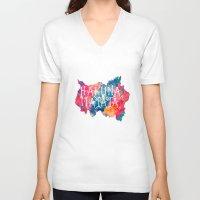 hakuna V-neck T-shirts featuring Hakuna Matata Painted Clouds by Caleb Troy