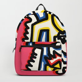 Life in Rose Street Outsider Art Pink Graffiti Backpack