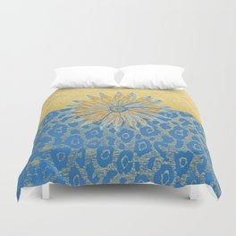Animal Print Cheetah Yellow and Blue Pattern Duvet Cover