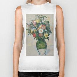 """Paul Cezanne """"Flowers in a green vase"""" Biker Tank"""