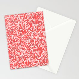 Paisley or Damask Red Floral Pattern Stationery Cards