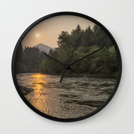 Fire Sunrise on McKenzie River Wall Clock