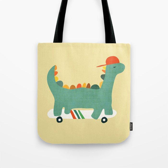 Dinosaur on retro skateboard Tote Bag