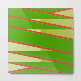 Green and Rust Red Geometric Stripe Metal Print