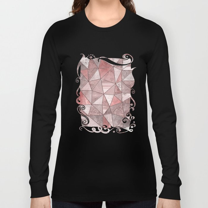 Soft Pink Coral Glamour Gemstone Triangles Long Sleeve T-shirt