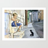 Boy Playing Flute for Kitty Art Print