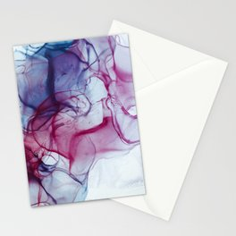 Alcohol Ink Abstract Wash Background. Mixing Blue Aqua Acrylic Paints Stationery Cards