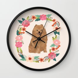 pomeranian floral wreath dog breed pet portrait pure breed dog lovers Wall Clock