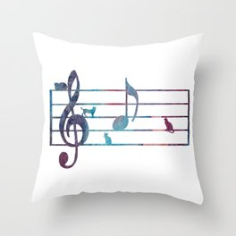 Musical Note With Cats Throw Pillow