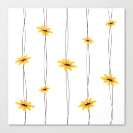 Simple Sunflower String Canvas Print