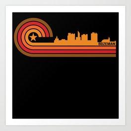 Retro Style Bozeman Montana Skyline Art Print