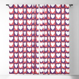 Tiled Pink and Purple Hearts Pattern 009#001 Blackout Curtain