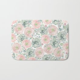 Flowers And Succulents White  #buyart #decor #society6 Bath Mat