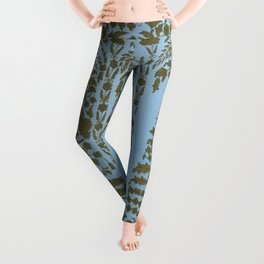 Antique Indian blue and gold embroidery graphic-design Leggings