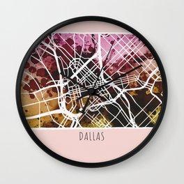 Dallas City Map/ Red Wall Clock