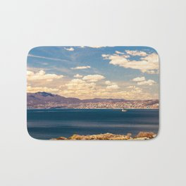 Sunny day view from Krk island to the gulf of Rijeka Bath Mat