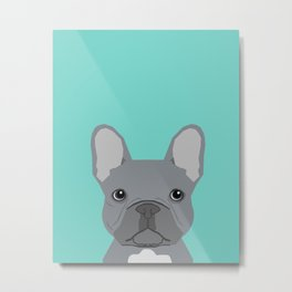 French Bulldog cute grey puppy funny bulldog pet gift for dog person loved one valentines day dogs Metal Print