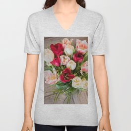 A view from above to the bouquet of tulips. Unisex V-Neck