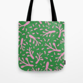 Branches and leaves - green and pink colors Tote Bag
