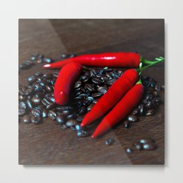Hot Chilly and Coffee Beans Metal Print