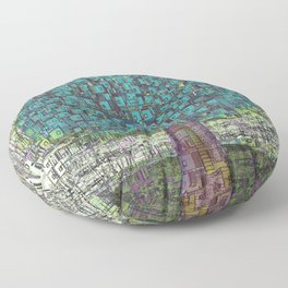 Tree Town - Magical Retro Futuristic Landscape Floor Pillow