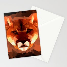 Cougar head, wild animal poly print Stationery Cards