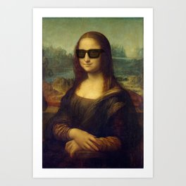 Hipster Mona Lisa in her Hipster Shades Art Print