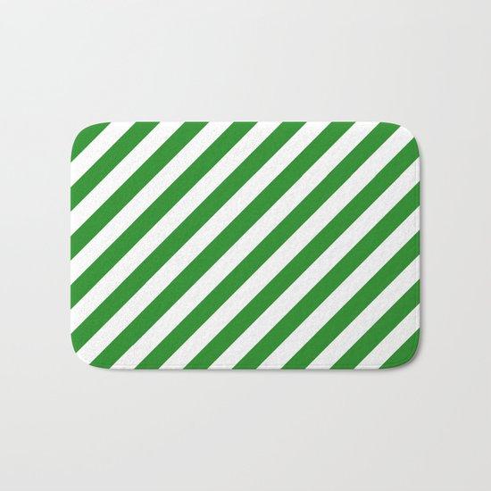 Diagonal Stripes (Forest Green/White) Bath Mat