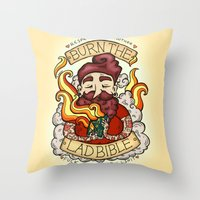 bible Throw Pillows featuring Burn The Lad Bible by Roseanna Hanson