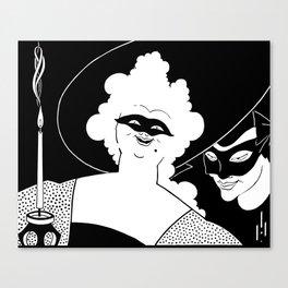 Carnival or Masquerade Ball black and white art Canvas Print