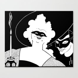 Carnival or Masquerade Ball black and white art Canvas Print