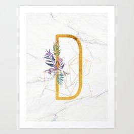 Modern glamorous personalized gold initial letter D, Custom initial name monogram gold alphabet prin Art Print