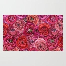 Valentines red Roses // pink & red Ranunculous floral Rug