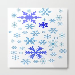 BLUE & PURPLE WINTER SNOWFLAKES  DESIGN Metal Print
