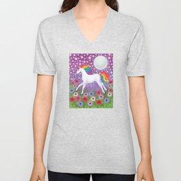 wanderlust (rainbow unicorn), moon and stars, anemone Unisex V-Neck
