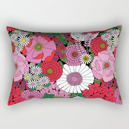 Vintage Florals Geranium Rectangular Pillow