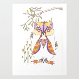 Whimsical Mama Owl and Baby Owls Art Print