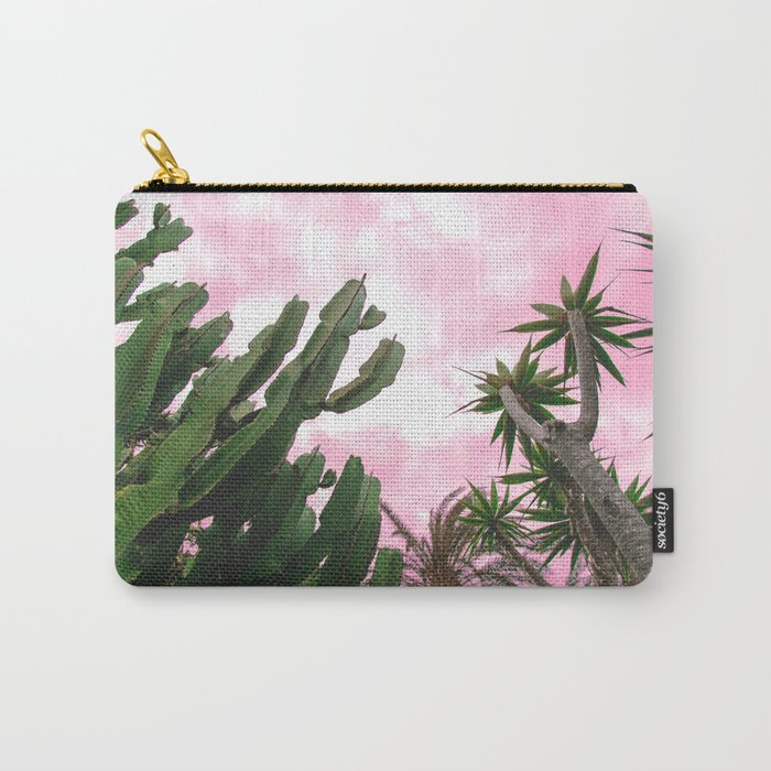 Cactus and palm tree pink sunset vibes Carry-All Pouch