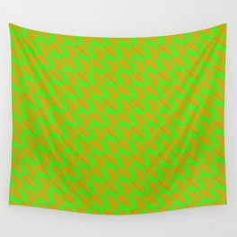 Pattern of orange squares and green triangles in a zigzag. Wall Tapestry