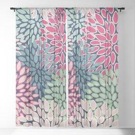 Bold Floral Pattern, Blue, Pink, Magenta, Teal, Green Sheer Curtain