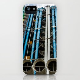 Colored pipelines on the facade of a building iPhone Case