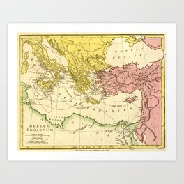 Vintage Trojan War Map of the Journey of Ulysses / Odysseus / Telemachus / Aeneas (1808) Art Print