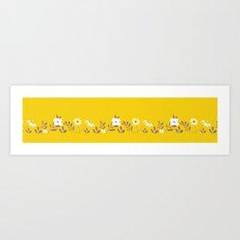 Golden Folk Floral Art Print